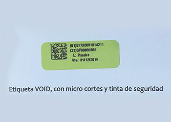 Etiqueda VOID, con micro cortes y tinta de seguridad
